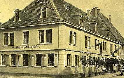 ältere Bildaufnahme des Hotels Adler Post von 1896