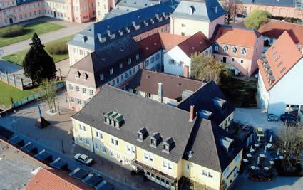 Bildaufnahme vom Turm der Katholischen Kirche Schwetzingen