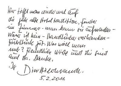 Guest book entry Dieter Hildebrandt