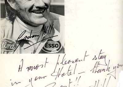 Guest book entry Graham Hill