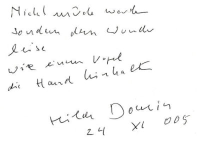 Guest book entry Hilde Domin