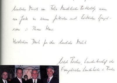 Guest book entry Landesbischof Fischer