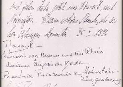Guest book entry Margaret von Hessen und bei Rhein
