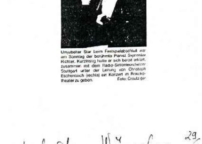 Guest book entry Swjatoslaw Richter