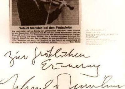 Guest book entry Yehudi Menuhin