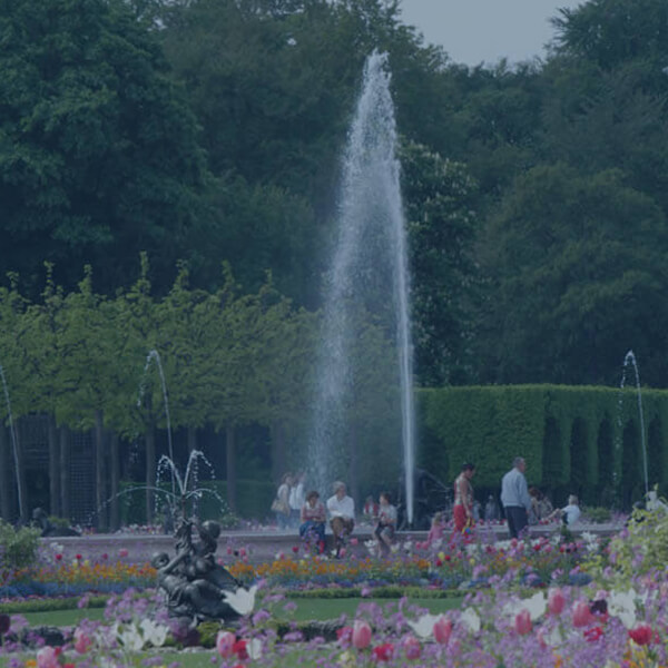 View of the large fountain in Schwetzingen Castle