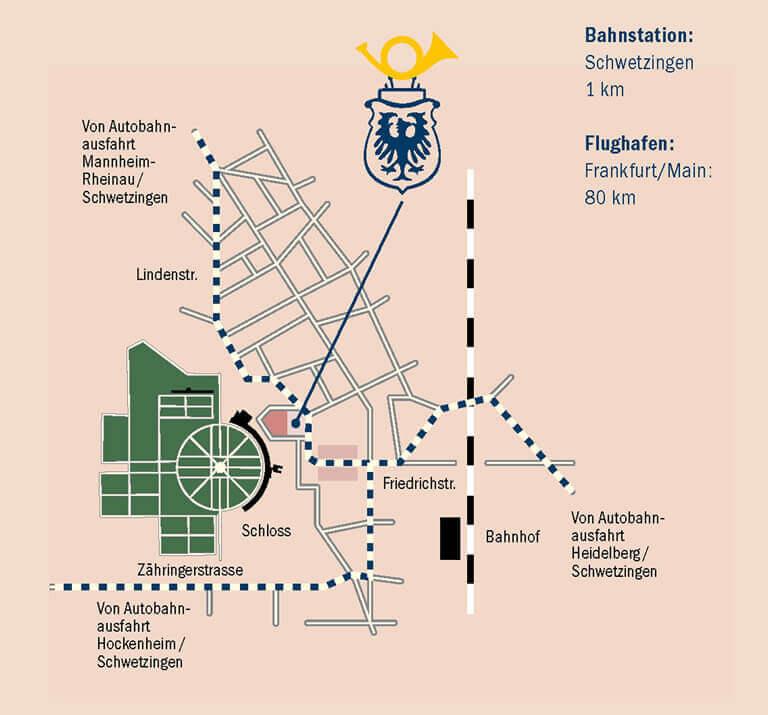 Lageplan des Hotels Adler Post in Schwetzingen
